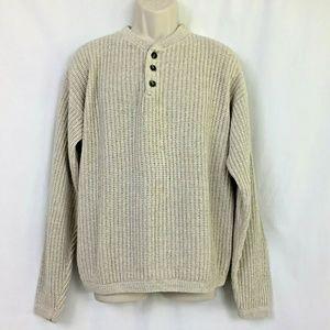 Alps Shaker Knit Sweater Medium Mens Beige Buttons